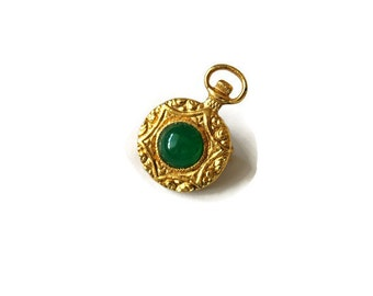 Romantic  Pocket Watch brooch with Green glass cabochon
