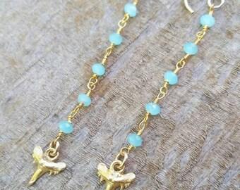 Shark Tooth Dangle Earrings - ocean jewelry, beach jewelry, aloha, hawaii, kauai