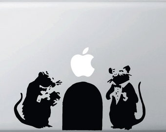 "MB - The Fancy Rats - Banksy Style Laptop Decal by Yadda-Yadda Design Co. (9""w x 4.5""h) (BLACK)"