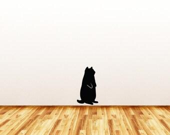WALL - Fat Cat Standing - SMALL - Wall Vinyl Decal - Copyright © Yadda-Yadda Design Co. (Size Options Available) (BLACK)