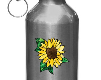 """CLR:WB - Sunflower Stained Glass Style - D2 - Vinyl Decal for Water Bottles   Vacuum Flasks   Outdoor Use - © 2016 YYDCo. (2.75""""w x 2.75""""h)"""