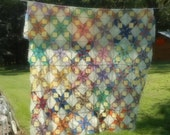 Vintage Quilt Top 8 Point Star Hand Stitched Quilt Top Mid Century Quilt