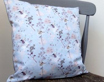 Dandelion 40cm cushion- bird pillow- patterned pillow- pale blue pillow- home decor- surface pattern- bird cushion- made in UK- dandelion