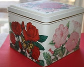 Tin Container Made By Current, Bright Flowers and Butterflies, Clean, Ready To Use ,1980