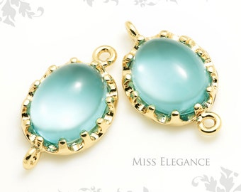 2 pcs Aqua Crown Setting Domed Smooth Oval Glass Pendants, Connectors, Gold Plated over Brass Jewelry Findings // 10mm x 17mm // XXX