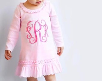 Pink dress with monogram. Cute pink monogrammed outfit for baby, toddler, girl. Light Pink Ruffle dress with Embroidered monogram.