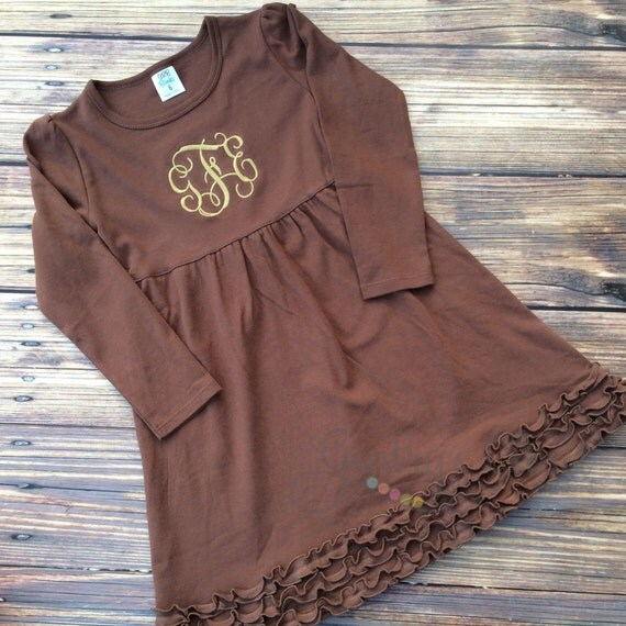 items similar to monogrammed brown ruffle dress with monogram for baby girl  toddler  little