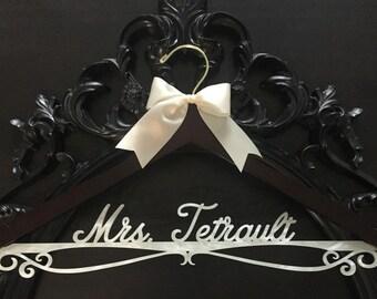 Wedding Hanger, Personalized Bride Hanger, Brides Hanger, Ivory Pearl Hanger, Bling Hanger, Pearl Hanger, Pearlized Acrylic Wedding Hanger