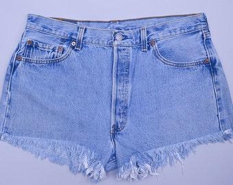 Vintage Levis Cut Offs Distressed Cut-off Jean Shorts W 35