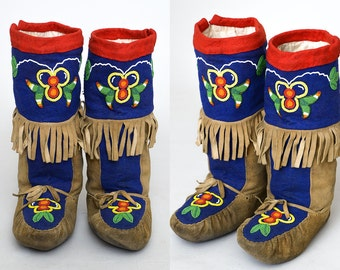 Vintage Native American CREE Tall Mukluk Moccasins Canadian Hand Beaded Floral Leather Hide Indian Moccasins