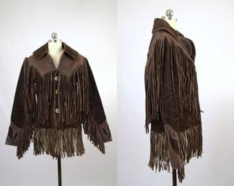 Vintage EAST WEST Musical Instruments Hippie Fringe Leather Rock N Roll Jacket