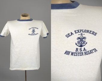 1950s Boy Scouts Of America Sea Explorers B.S.A. Nor'Western Regatta Ringer T Shirt