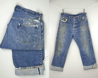 50s Levis 501 XX Hidden Rivets Redline Selvedge Indigo Denim Jeans 37 x29