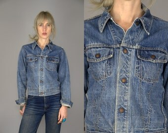 60s Indigo Blue Denim Ranch Hand Two Pocket Distressed Jean Jacket