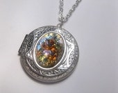 Opal Necklace - Locket - Fire Opal - Fantasy - Gypsy - Gift For Her