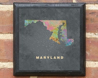 Maryland MD Splatter Watercolor Paint Effect Vintage Style Plaque Sign Wall Home Art Decor Gift Present baltimore bethesda Frederick Classic