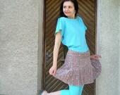 ON SALE: Vintage Floral Corduroy Wrap Pleated Mini Skirt size M-L