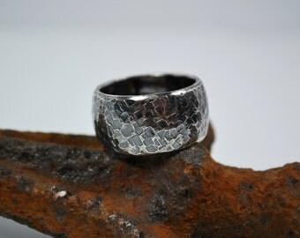 Mens Wedding Band – Wide Silver Wedding Band - Sterling Silver Hammered Wedding Band - Mens Rings