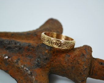 Wedding Band - 14K Gold Vintage Style Wedding Band - Wedding Ring