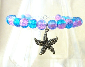Turquoise & Purple Crackle Glass Bead Ankle Bracelet w/ Bronze Star Fish Charm, Handmade Original Fashion Jewelry, Beach Ocean Inspired Gift