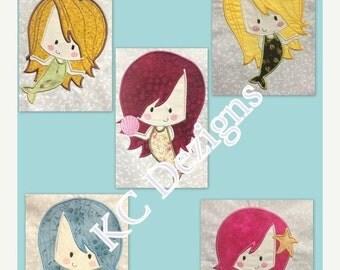 50% OFF SALE Cute Baby Mermaids 1-5 Full Set Machine Applique Embroidery Design - 4x4, 5x7 & 6x8