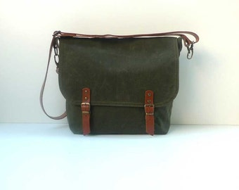 Free Express Shipping Messenger bag-waxed canvas messenger bag-mens messenger bag-army green waxed messenger bag