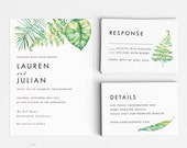 Tropical Printable Wedding Invitation Set - Hawaii Wedding Invitation Download - Ready to Print PDF- Letter or A4 Size (Item code: P977)