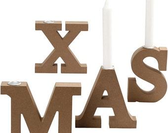 Large Christmas Candle Holders - Plain Wood MDF Candlestick - Xmas Decorate Paint Craft Gift