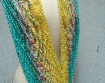 "KIT - ""New Directions"" Infinity Scarf Kit - Aqua/yellow version"