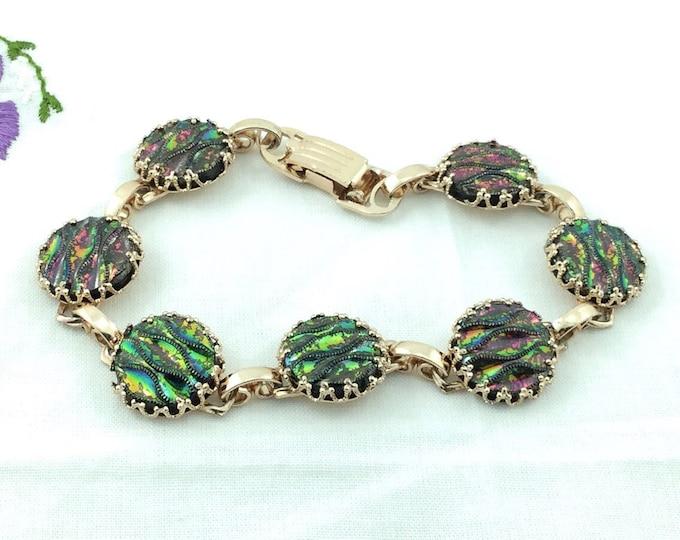 Vintage Mid Century Style Cabochon Link Bracelet. Colorful bracelet. Goldtone and Forest Green, Purple, Iradescent Cabochon bracelet Rainbow