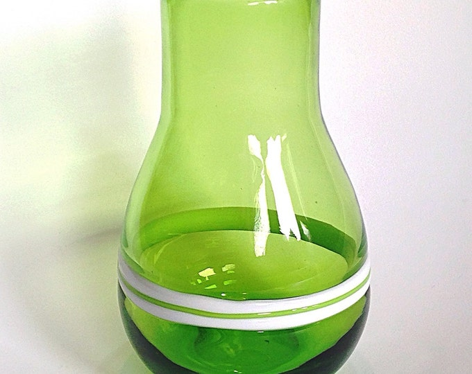 Gorgeous Vintage Green Glass Vase with milk glass stripes. Smooth tall green holiday vase. Quality Mid century green glass flower vase.