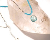 Pale Blue Topaz Crystal Necklace-Layering Necklace-with Silver and Agate mixed Beads