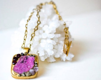 Minerals Pendant/Necklace-mix of gold, Garnets, pink Cobaltoan Calcite, Dolomite, Pyrite and Amethyst