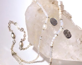 SALE-Double Strand- Silver Druzy, Quartz and Moonstone Necklace with White Pearls