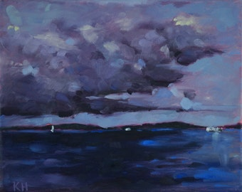 Original Oil Painting Landscape on Stretched Canvas: Gloomy Day on the Puget Sound
