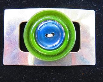 Brooch - Button Brooch - Vintage Button Brooch - Buckle Brooch- Pin
