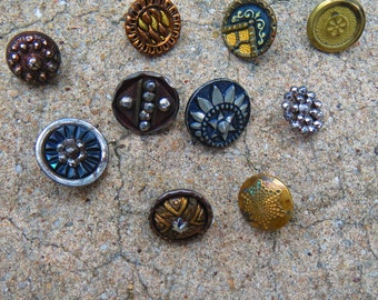 Small Antique Metal Glass Shell Buttons