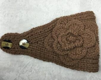 Brown (Coffee) knit headband, ear warmer with crochet flower