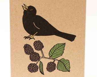 Blackbird card. Bird and berries, Maurice and blackberries. Recycled kraft card. Eco friendly card. Bird card. Greeting card. Made in the UK