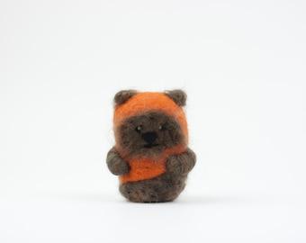 Needle Felted Ewok, Needle Felted Bear, Needle Felted Animal, Plush, Felt Animal, Ornament, Wool, Merino Wool