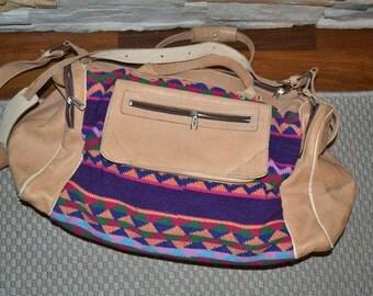 Vintage crochet fabric and light brown leather duffle handbag travel bag shoulder bag  unisex back to school Excellent condition
