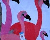 Personalized Flamingo Beach Towel or Big Bath Towel