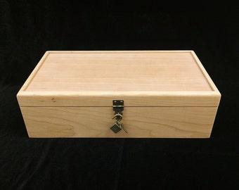 Unfinished  Wood Box w/ Hinges & Lock-13 3/4 x7 1/4 x 4-unfinished wood box-ready to finish-engravable wood box-personalized laser engraving