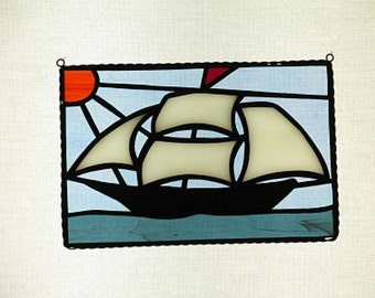 Stained Glass Schooner Suncatcher - Price Includes Shipping