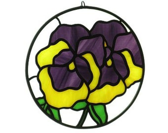 Stained Glass Pansies Suncatcher - Price Includes Shipping
