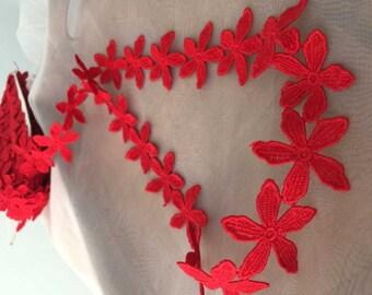 2 yards Venise Lace Trim in Red , Floral Bridal Lace Trim