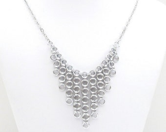 Japanese style chainmail necklace, silver bib necklace, statement jewelry