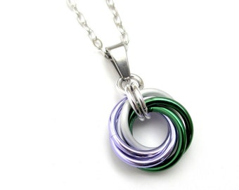 Genderqueer pride pendant necklace, chainmail love knot; lavender, white, and green nonbinary jewelry