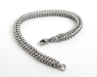 Box chain chainmail bracelet, silver aluminum jewelry for women or men