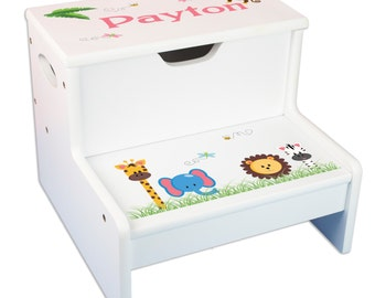 Kids Personalized Jungle Animal Step Stool Storage Stool Safari Nursery Toddler Baby Gift Step & Store Child's Stools STEP-whi224